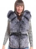 Куртка кожаная с мехом чернобурки